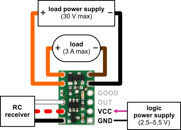 Components Pololu RC Switch with Small Low-Side MOSFET