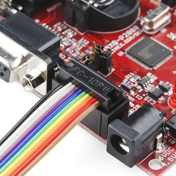 Ribbon Cable Crimp Connector - 10-pin (2x5, Female) on a board