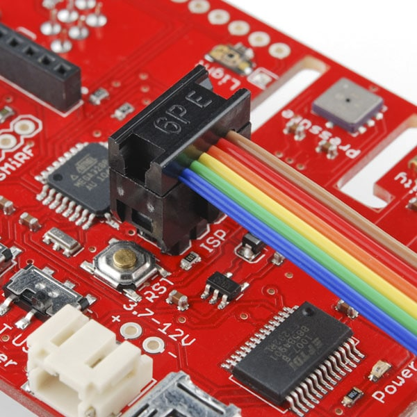 Ribbon Cable Crimp Connector - 6-pin (2x3, Female) fitted on a board