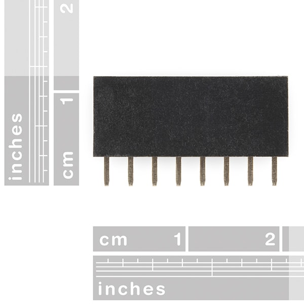 "Header - 8-pin Female, PTH, 2.54mm (0.1"") dimensions"