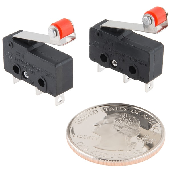 SparkFun COM-13119 Mini Microswitch - SPDT (Roller Lever, 2-Pack)