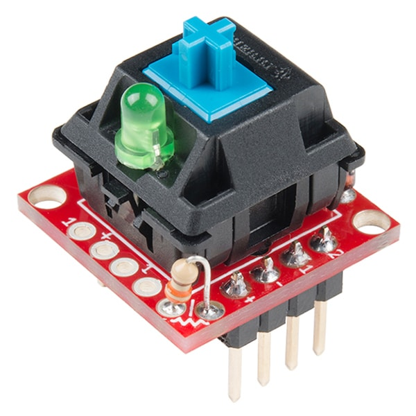 Cherry MX Switch Breakout Board with LED and switch fitted