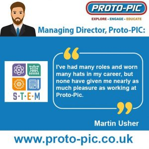 quotation from Managing Director Martin Usher on Proto-PIC working with schools