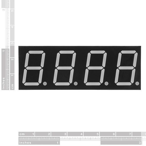 7-Segment Display - 20mm (White) size ruler