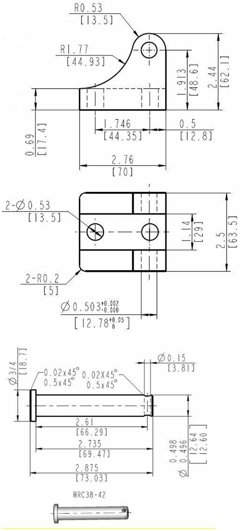 Mounting Bracket for Glideforce Industrial-Duty Linear Actuators Dimensions
