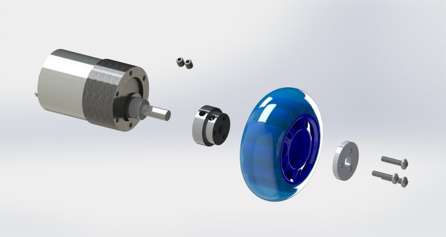 Aluminium Scooter Wheel Adapter for 6mm Shaft exploded view