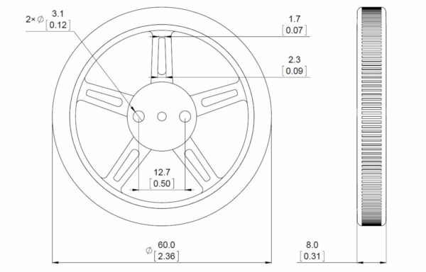 60x8mm Wheel with mounting hub