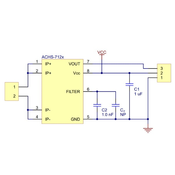 ACHS-7121 Current Sensor Carrier -10A to +10A Schematic Proto-PIC
