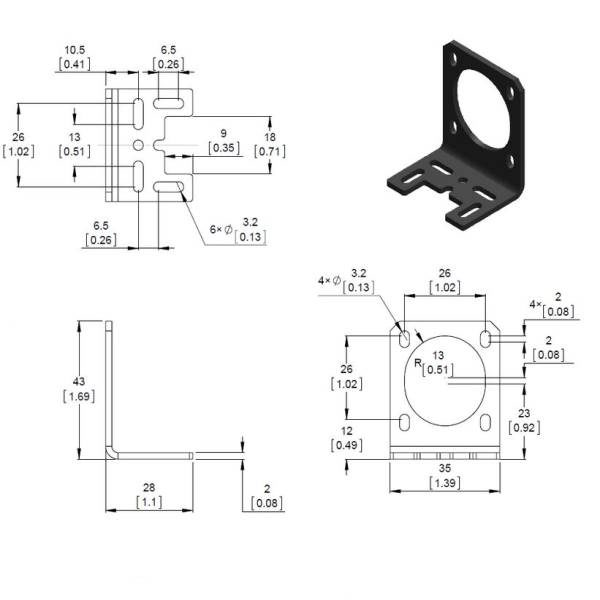 Pololu Stamped Aluminum L-Bracket for NEMA 14 Stepper Motors