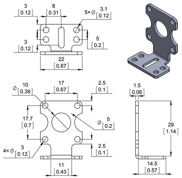 Stamped Aluminum L-Bracket Pair for Plastic Gearmotors Extended Version Dimensions