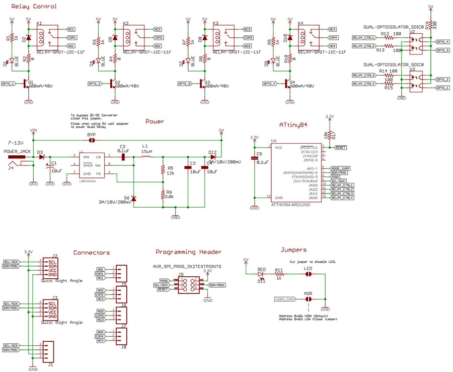 Quad Relay Board Schematic