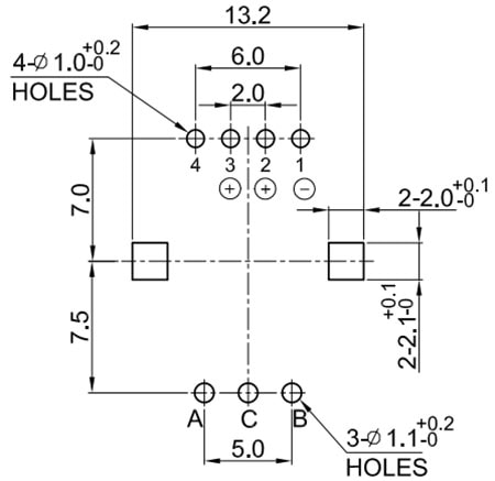 Rotary Encoder Recommended PCB Land Pattern