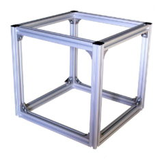 Cube-shaped frame made of aluminium profile extrusions and L-brackets