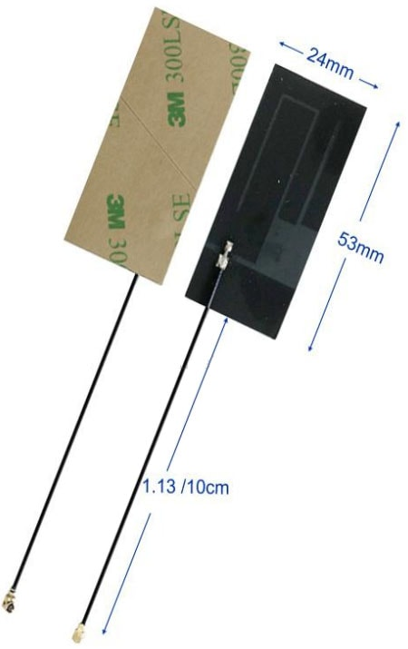 Dimensions of Wide Band 4G LTE Internal LoRa Antenna Proto-PIC
