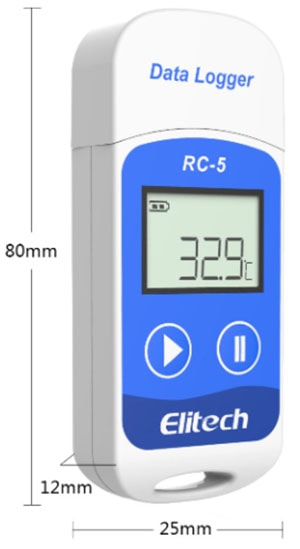 Temperature Data Logger, USB 2.0, RC-5, 32K Readings Dimensions