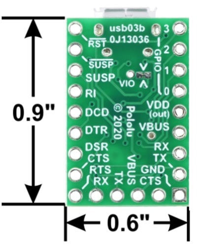 USB-to-Serial Adapter Carrier Board, CP2102N Dimensions