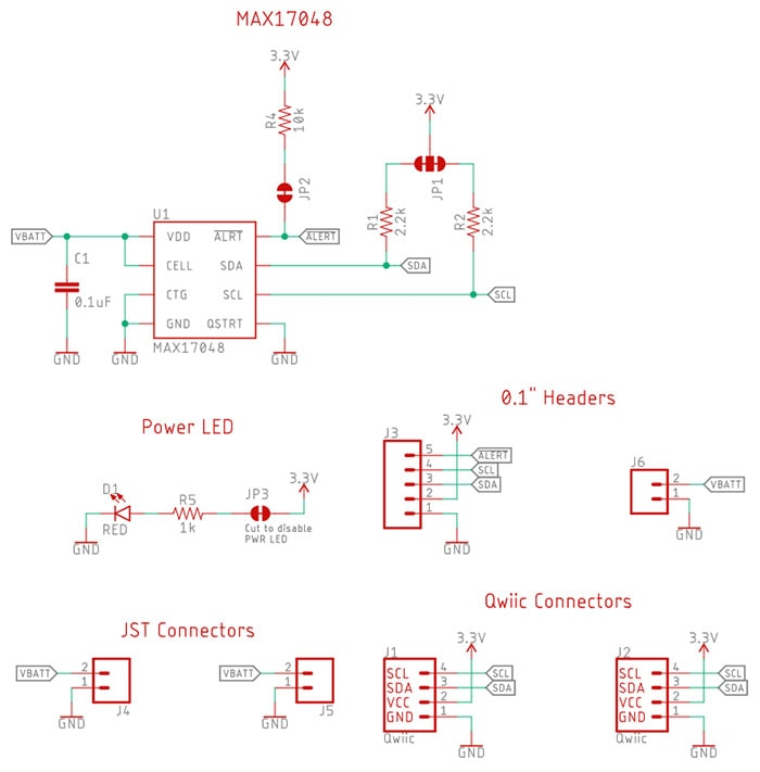 Fuel Gauge, LiPo Monitor, Qwiic, MAX17048 Schematic
