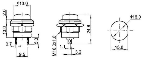 16mm Panel Mount Momentary Pushbutton Dimensions