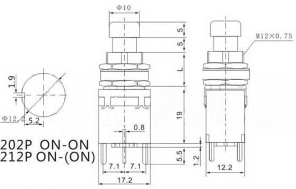 DPDT Stomp Switch Dimensions