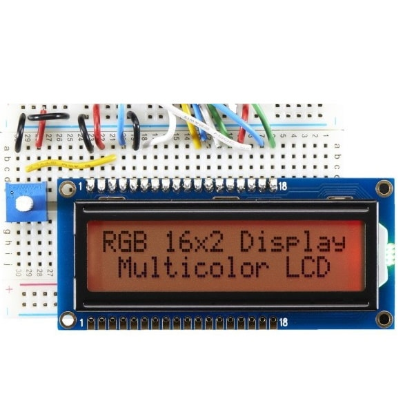 LCD, 16x2, Black on RGB backlight positive RED